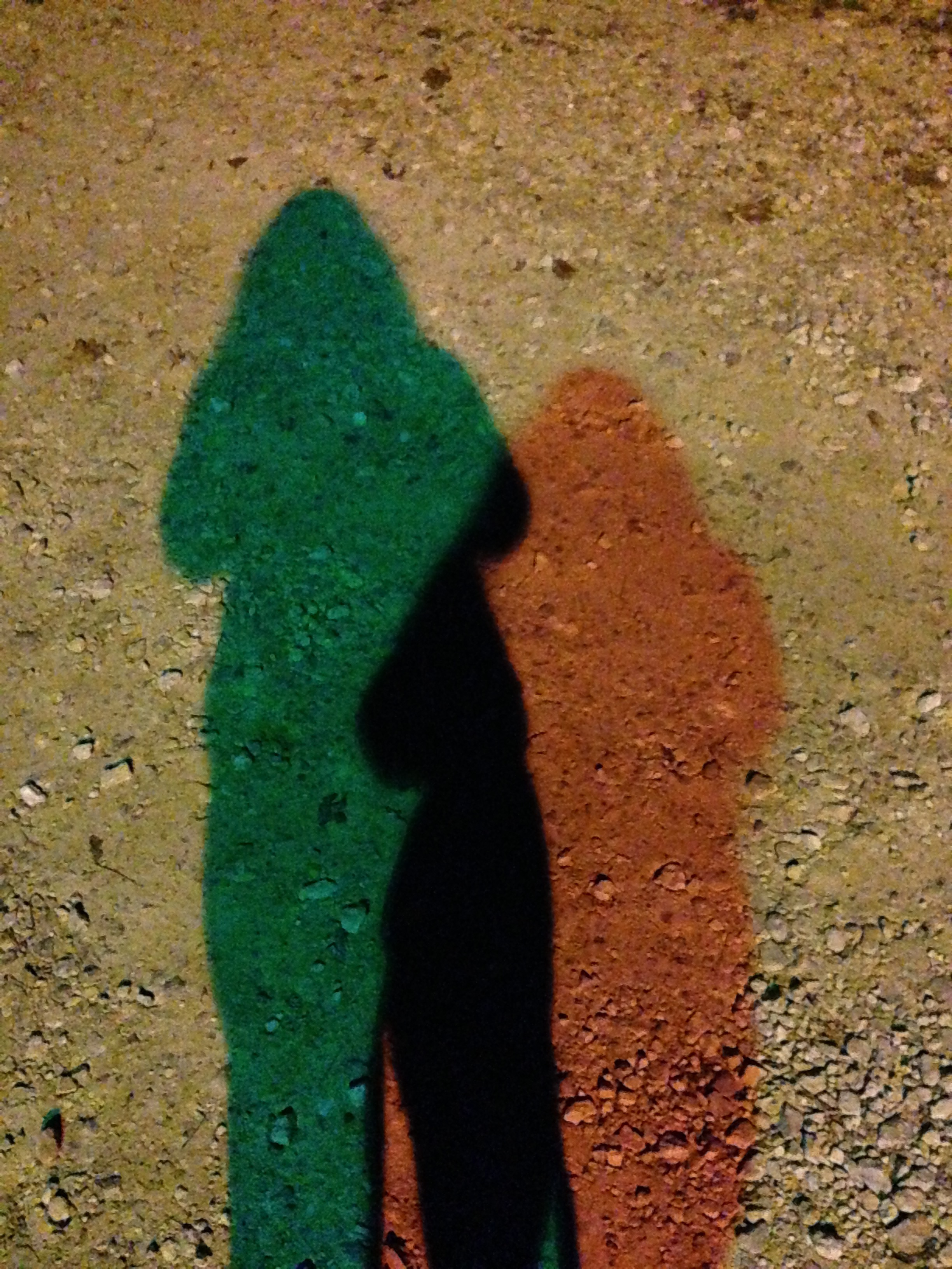 colored-shadows: two different colors of light cause two colors of shadow